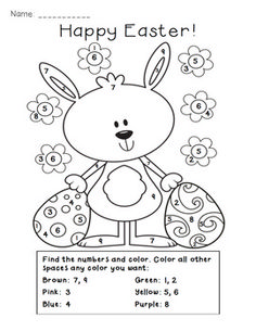 Easter Color by Number Activity $1.50. Great activity for identifying digits 1-9. So cute and perfect for next week. :)