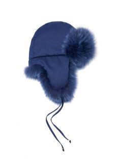 Fendi Micro-logo fox-fur lined trapper hat