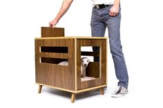 dwell dog crate mid century modern pet by modernistcat on etsy: modern dog crate