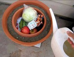 Refrigerate Without Electricity Take a smaller pot and put it inside of a larger pot. Fill the space in between them with wet sand, and cover the top with a wet cloth. When the water evaporates, it pulls the heat out with it, making the inside cold. It's a natural, cheap, easy to use and even portable refrigerator. So, instead of perishable foods rotting after only three days, they can last up to three weeks using this method.