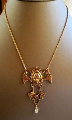 MAGNIFICENT EXTREMELY LARGE 14k GOLD DIAMOND ART NOUVEAU NECKLACE 13.84 grams | eBay