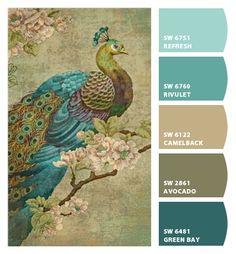 Paint colors from Chip It! by Sherwin-Williams - peacock color palette inspiration Scheme Color, Paint Color Schemes, Color Combos, Vintage Color Schemes, Office Color Schemes, Colorful Decor, Colorful Interiors, Palette Design, Pintura Exterior