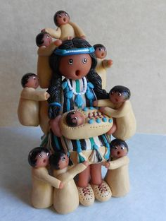 Southwest STORYTELLER doll figure Grandma Mother by hookedonclay, $42.00