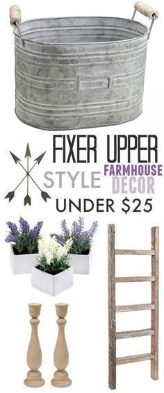 """Are you a fan of the show """"Fixer Upper""""? Find out how you can celebrate the final season and bring some of that farmhouse style into your own home with these Fixer Upper style farmhouse decor ideas under $25!"""