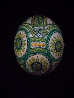 1 Romanian Romania pysanky pysanka Easter decorated waxed real OSTRICH egg green #ostrichegg