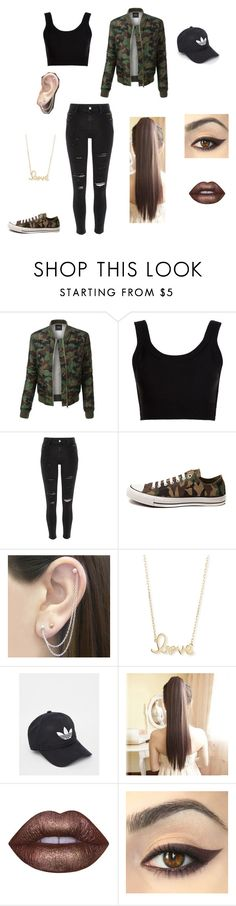 """""""Camolicious"""" by laurenbrgr ❤ liked on Polyvore featuring LE3NO, Calvin Klein Collection, River Island, Converse, Otis Jaxon, Sydney Evan, adidas, Lime Crime, school and MyStyle"""