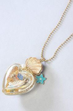 The Mermaid's Tale Long Heart Bottle Necklace