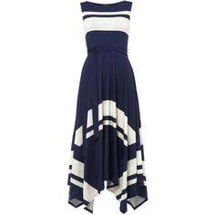 Winola Stripe Maxi Dress (1.233.145 IDR) ❤ liked on Polyvore featuring dresses, maxi dresses, blue maxi dress, striped jersey dress, blue jersey and blue striped dress