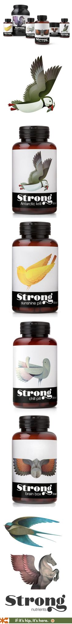 Strong Nutrients new line of supplements has beautifully illustrated labels by Andrew Lyons and branding by Pearlfisher PD