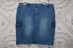 Talbots Distressed Denim Skirt Pockets Knee Length Spring Summer Casual Size 14 #Talbots #StraightPencil