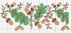 Oak Leaf and Acorn Knitting Pattern | Oak leaves autumn pattern | Cross stitch | Pinterest