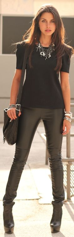 leather pants long boots with black Tshirt and hangbag