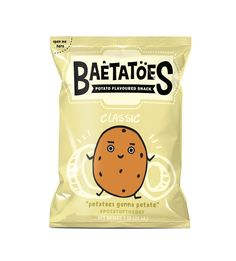 Creative Agency: Citrartwork Project Type: Produced, Commercial Work Client: Baetatoes Location: Indonesia Packaging Contents: Potato Chips  the idea of the design is pretty cool each flavor has a potato on the bag with its own persona to describe that flavor. the type is bold and easy to read with its own style to really catch the eye when on display.