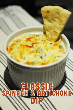 Classic (and easy) Spinach and Artichoke Dip recipe: http://www.yummyreads.com