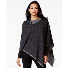 Eileen Fisher Boat-Neck Marbled Poncho Sweater ($178) ❤ liked on Polyvore featuring tops, sweaters, black boatneck top, black boat neck top, black poncho, poncho sweater and layered sweater