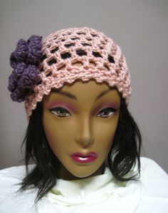 Pink Hat with Mauve Flower Accent