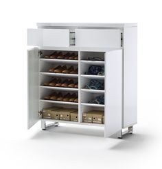 Schuhschrank Bianco III Hochglanz Weiß Passend Zum Möbelprogramm Bianco 1 X  Schuhschrank Mit 2 Türen 2