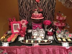 Dessert table setup.  Zebra print theme