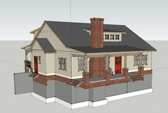 Here is a rendering of the farmhouse.  I designed it using SketchUp.