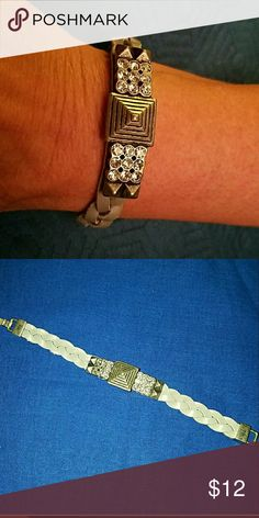 "Lia Sophia Faux Gray Leather Bracelet 7"" long,  EUC. Lia Sophia Jewelry Bracelets"