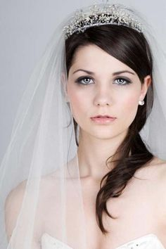 curly bridal hair with tiara and veil | Wedding Hairstyles with Veil and Tiara Concept # 5