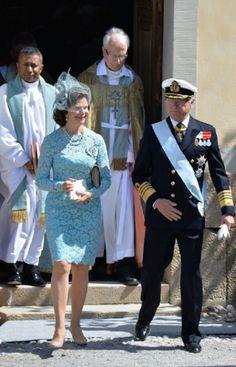 Queen Silvia of Sweden and King Carl Gustaf of Sweden arrive for Princess Leonore's Royal Christening at Drottningholm Palace Chapel, 08.06.2014 in Stockholm, Sweden.