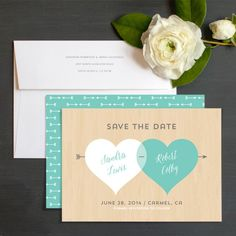 Two Hearts Save The Date Cards by Ringleader Paper Co. | Elli.com