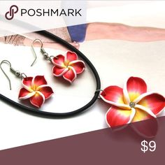 Hawaiian Plumeria Earrings and Necklace Set Hawaiian style set perfect for the spring/summer! Jewelry Necklaces