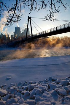 Cold morning in Calgary, Alberta, Canada.I want to go see this place one day. Taken by Steven Bulman Rocky Mountains, Calgary, Places Around The World, Around The Worlds, British Columbia, Smoke On The Water, Voyager Loin, Alaska, Vancouver