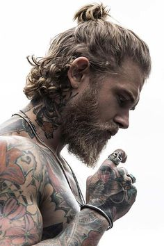 Inspiring ideas about hair and full beard style combinations, styles . - Inspiring ideas about combinations of hair and full beard styles, styles - Hair And Beard Styles, Curly Hair Styles, Viking Beard Styles, Mens Long Hair Styles, Short Beard Styles, Man Bun Styles, Undercut With Beard, Long Hair Beard, Long Curly Hair Men