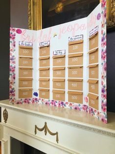 Looking for a bridal shower game that isnt overdone? Bridal jeopardy is sure to amaze your party guests! Theyre sure to be oohing and ahhing at your homemade bridal jeopardy board. Fun Bridal Shower Games, Bridal Shower Planning, Bridal Games, Tea Party Bridal Shower, Wedding Games, Bridal Shower Decorations, Bridal Shower Invitations, Wedding Trivia, Bridal Shower Prizes