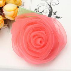 Sale 26% (1.77$) - Girls Kids Chiffon Rose Flower Hair Accessories Clip Hairpin Hair dress Decorate