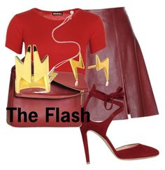 """""""The Flash"""" by geekyandnerdyfashion ❤ liked on Polyvore featuring Acne Studios, WearAll, Gianvito Rossi, Eddie, Gorjana, Emi Jewellery and Marc by Marc Jacobs"""