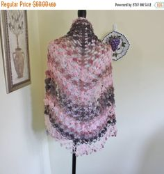Mohair Crochet Shawl Triangle Pink And Brown Lace Bridal Flower Floral Wedding Wrap Scarf Boho Summer Wrap  All Seasons by ufer on Etsy