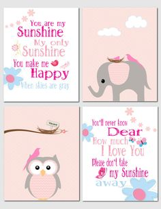 You Are My Sunshine - Nursery Art You are my Sunshine Baby Girl Nursery by vtdesigns