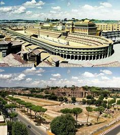 Virtual reconstruction of Circus Maximus and photo from the same place. Ancient Roman chariot racing stadium and mass entertainment venue located in Rome, Italy. Situated in the valley between the Aventine and Palatine hills.