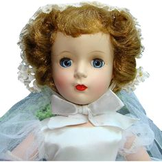 Stunning 1951-55 Madame Alexander Margaret Face Bride Doll 15 Inch in Original Gown  found at www.rubylane.com @rubylanecom