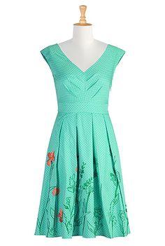 embroidered dot print sundress $55 at eShakti - Shop Women's designer fashion dresses, tops | Size 0-26W & Custom clothes