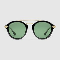 Gucci Round-frame Acetate Sunglasses In Green Round Frame Sunglasses, Mirrored Sunglasses, Titanium Metal, Gucci Store, Gucci Sunglasses, Gucci Men, Gucci Gucci, Types Of Shoes, Women's Accessories