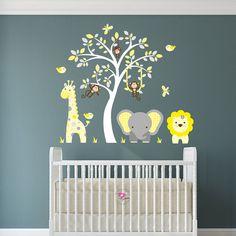Safari Decal Yellow And Grey Nursery By Enchantedinteriorsuk Decals Room Jungle