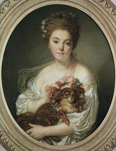Jean Baptiste Greuze, Madame de Porcin / Gemaelde...LOVE WITH THE DOG AND THE FLOWERS