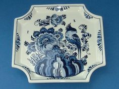 Delft Delftware Dutch Blue and White Bird Floral Garden Design Hanging Plate Dish via Etsy