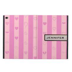 Modern Heart Elegant Pink Purple Stripe Powis iPad Air 2 Case - girly gift gifts ideas cyo diy special unique