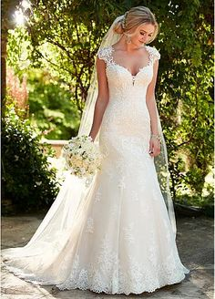 Essense of Australia Wedding Dresses, Essense of Australia Photos, Classic wedding dress idea - an updated silhouette for the traditional bride, this lace wedding dress with illusion back from Essense of Australia is . Wedding Dresses With Straps, Perfect Wedding Dress, Dream Wedding Dresses, Bridal Dresses, Wedding Gowns, Bridesmaid Dresses, Sequin Wedding, Elegant Wedding, Wedding Ceremony