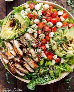 Chicken Avocado Caprese Salad Recipe By: @cafedelites . Must follow. Yummy food @cafedelites Serves: 4 Ingredients Marinade/Dressing: ¼ cup (60 mL) balsamic vinegar 2 tablespoons (30 mL) olive oil 2 teaspoons brown sugar 1 teaspoon minced garlic 1 teaspoon dried basil 1 teaspoon salt Salad: 4 chicken thigh fillets, skin removed (no bone)* 5 cups Romaine (or cos) lettuce leaves, washed and dried 1 avocado, sliced 1 cup cherry or grape tomatoes, sliced ½ cup mini mozzarella / bocconcini cheese…