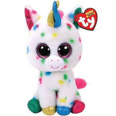 Plastic Key Clip CANDY CANE the Unicorn Glitter Eyes TY Beanie Boos - MWMT