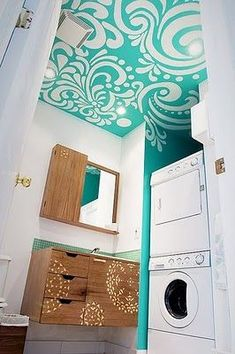 A painted ceiling in a small laundry room brings it too life.Fresh modern powder bath and laundry. White makes the laundry room bright and light. Use a piece of fabric for your ceiling mural inspiration. Accent Ceiling, Ceiling Art, Ceiling Design, Ceiling Ideas, Ceiling Painting, Painting Art, Painting Walls, Ceiling Color, Accent Walls
