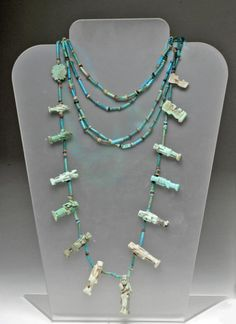 Egyptian Faience 5 Strand Necklace w/ Amulets, Ca 1500 to 500 BCE.