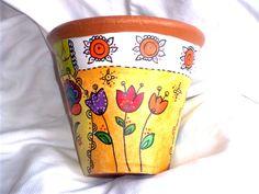 arte, artesania, pinturas, cuadros Painted Plant Pots, Painted Flower Pots, Pots D'argile, Clay Pots, Garden Yard Ideas, Garden Crafts, Ceramic Pots, Terracotta Pots, Decoupage Jars