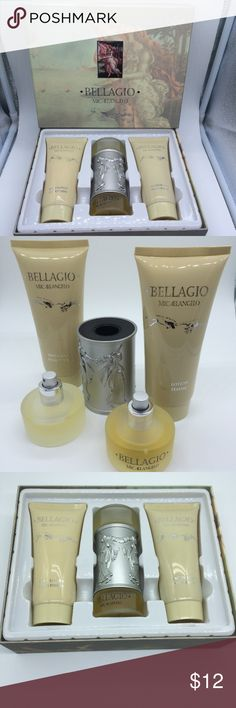Bellagio Michelangelo bath collection pour femme Bellagio Michelangelo bath collection pour femme  ✅brand new   ✅Body lotion, 200 ml  ✅Ray parfum  natural spray Eau de parfum, 100 ml  ✅Shower gel, 200 ml  ▪️Made in Italy  ........................................................ ▪️Price is firm, even when bundled ◾️No Trades, No offers, No holds ▪️Please check out our other items. Bellagio Michelangelo Accessories